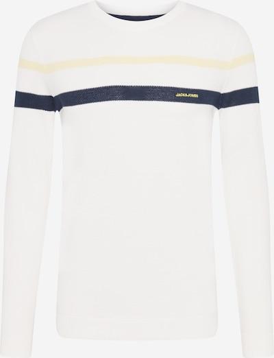 JACK & JONES Пуловер 'SMITH' в нощно синьо / светложълто / бяло, Преглед на продукта