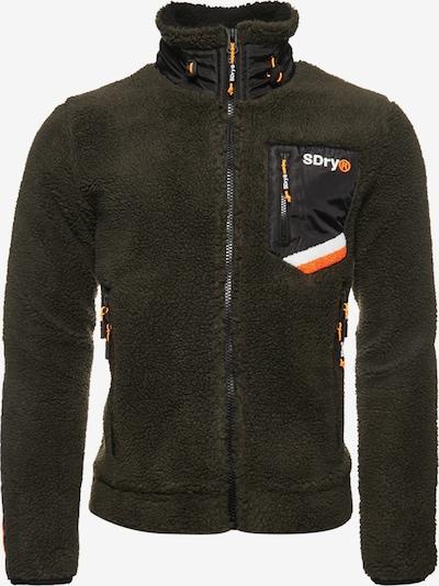 Superdry Fleece jas 'Celsius Sherpa' in de kleur Donkergroen / Sinaasappel / Zwart / Wit, Productweergave