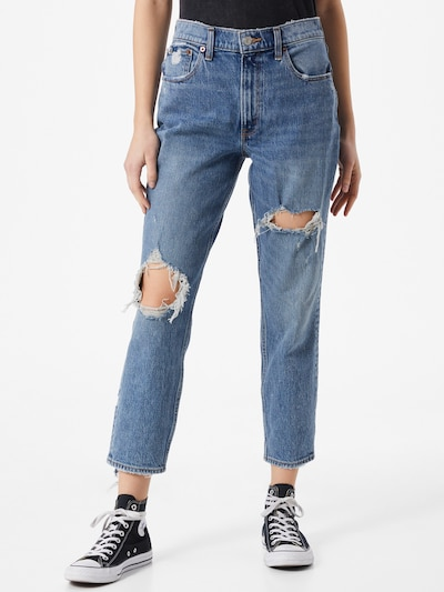 Abercrombie & Fitch Jeans 'MED KNEE BLOWOUT HR MOM ' in Blue denim, View model