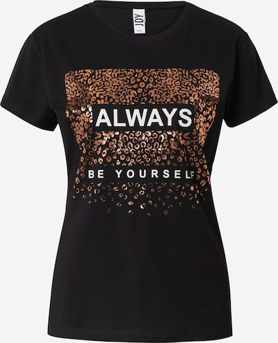 JDY T-shirt 'KLARA' en cuivre / noir / blanc, Vue avec produit