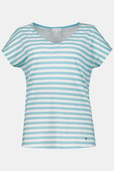 Gina Laura Gina Laura Damen T-Shirt, Ringelmix, Oversized, V-Ausschnitt 723088 in hellblau, Produktansicht