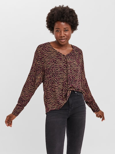 VERO MODA Shirt 'Uma' in puder / rubinrot / schwarz, Modelansicht