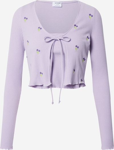 Cotton On Cardigan 'VIOLETTA' en vert clair / violet / violet foncé: Vue de face