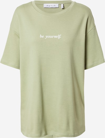 NU-IN Свободна дамска риза 'Be Yourself' в пастелно зелено / бяло: Изглед отпред