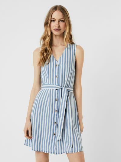 VERO MODA Kleid in rauchblau / weiß, Modelansicht