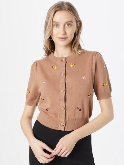 Cotton On Strickjacke in hellbraun / gelb / lila / pink / weiß, Modelansicht