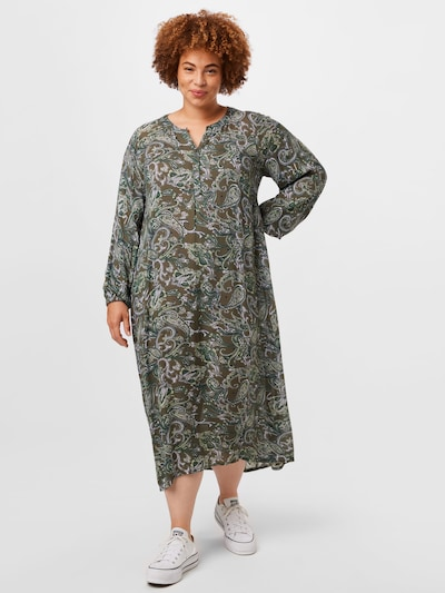 Rochie tip bluză 'Erna' KAFFE CURVE pe kaki / oliv / alb, Vizualizare model
