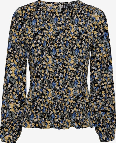 VERO MODA Bluse 'Vilba' in blau / pastellblau / honig / schwarz, Produktansicht