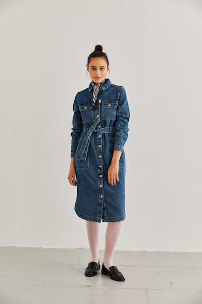 PIECES Blusenkleid in blue denim, Modelansicht
