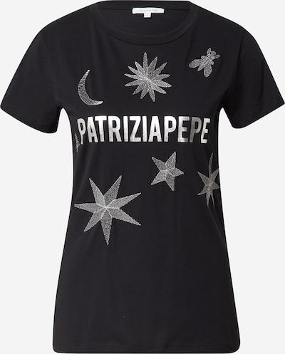 PATRIZIA PEPE Shirt 'MAGLIA' in de kleur Zwart / Zilver, Productweergave