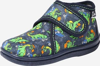 BECK Hausschuh 'Skate Dino' in himmelblau / dunkelblau / grün / orange, Produktansicht