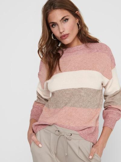 ONLY Pullover in grau / altrosa / weiß: Frontalansicht