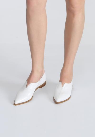 Ekonika Halbschuhe aus glattem Leder in weiß: Frontalansicht