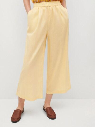 MANGO Hlače z naborki | svetlo rumena barva, Prikaz modela