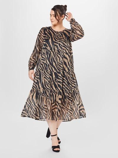 KAFFE CURVE Kleid 'Venke' in champagner / schwarz / weiß, Modelansicht