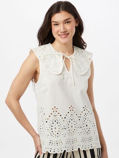 Bluză 'PENA' minimum pe alb natural, Vizualizare model