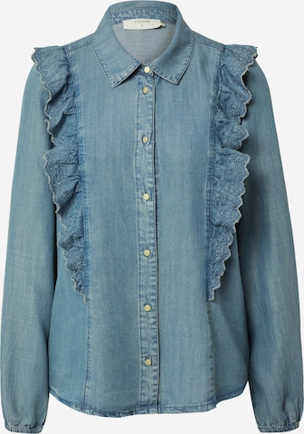 Cream Blouse 'Manny' in Blue
