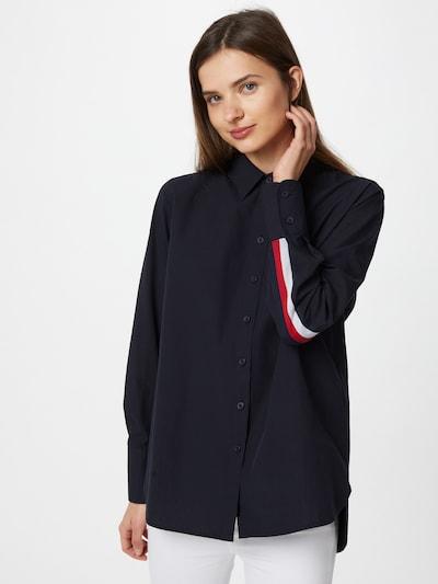 TOMMY HILFIGER Bluse 'Monica' in nachtblau / feuerrot / weiß, Modelansicht