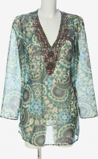 Darling Langarm-Bluse in M in creme / türkis / braun, Produktansicht