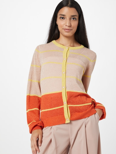NÜMPH Strickjacke 'CHARISMA' in hellgelb / orange / pastellorange, Modelansicht