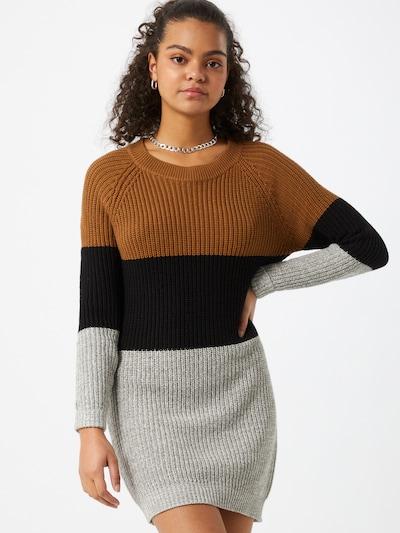 Noisy may Robes en maille 'Siesta' en marron / gris / noir, Vue avec modèle
