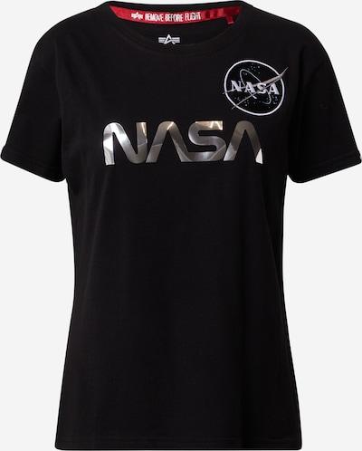 ALPHA INDUSTRIES Тениска 'Nasa' в черно / сребърно / бяло, Преглед на продукта