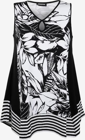 seeyou Tunika-Top mit Keyhole-Auschnitt in schwarz / weiß, Produktansicht