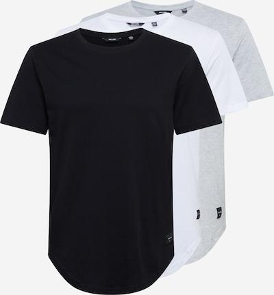 Marškinėliai 'ONSMATT LONGY SS TEE 7-PACK BD' iš Only & Sons , spalva - pilka / juoda / balta, Prekių apžvalga