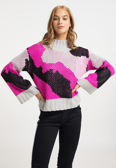 MYMO Pullover in hellgrau / pink / rosa / schwarz, Modelansicht