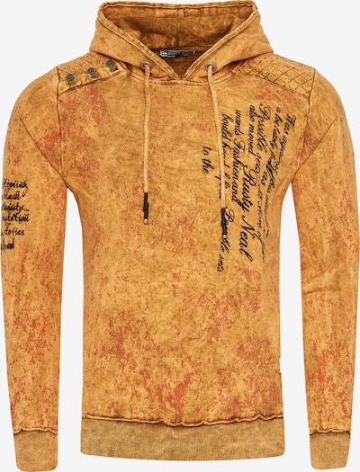 Rusty Neal Sweatshirt in verwaschenem Look mit Schriftzug in orange, Produktansicht