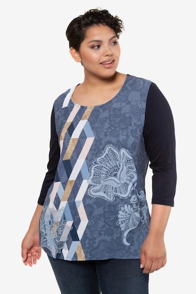 Ulla Popken Shirtbluse in blau / schwarz: Frontalansicht