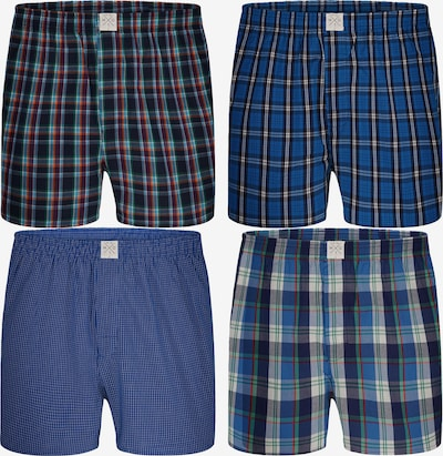 MG-1 Web-Boxershorts 4-Pack ' Checks ' in blau / mischfarben, Produktansicht