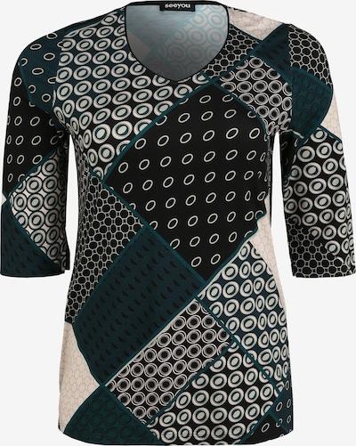 seeyou Shirt mit Allover-Muster in schwarz, Produktansicht