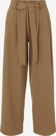 PIECES Voltidega püksid, värv pruun