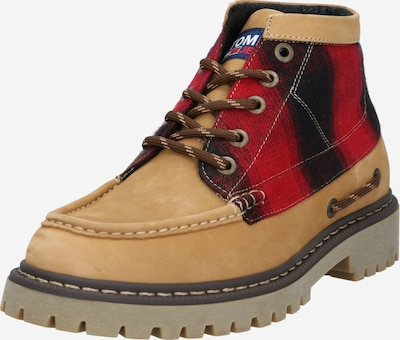 Tommy Jeans Veterboots 'HERITAGE' in de kleur Lichtbruin / Rood / Zwart, Productweergave