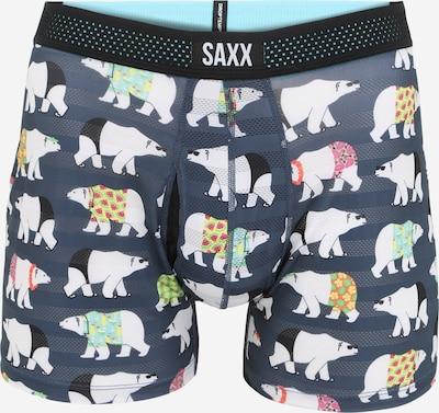 SAXX Sous-vêtements de sport 'HOT SHOT' en bleu marine / jaune fluo / vert fluo / noir / blanc, Vue avec produit