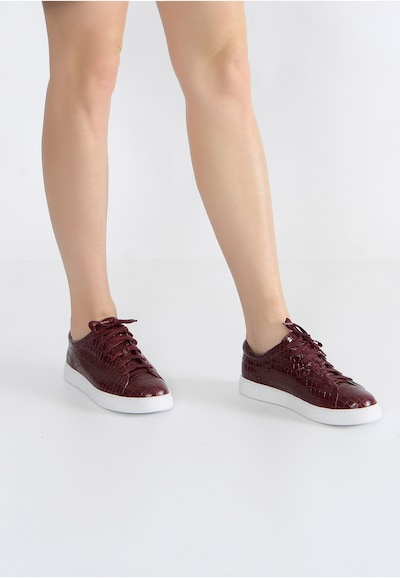 Ekonika Angesagte Sneaker aus echtem Leder in bordeaux: Frontalansicht