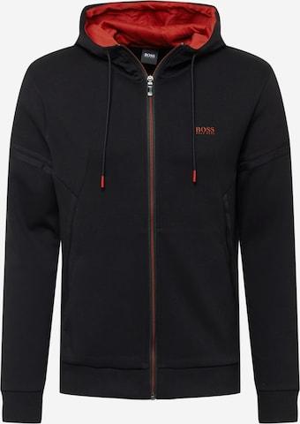 BOSS ATHLEISURE Sweatjakke 'Saggy' i svart