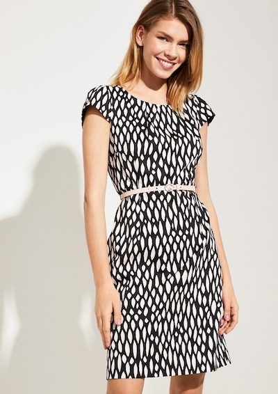 COMMA Kleid in schwarz / weiß, Modelansicht