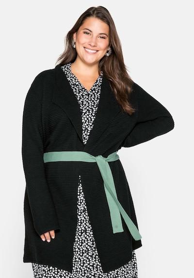 SHEEGO Knit Cardigan in Jade / Black, View model