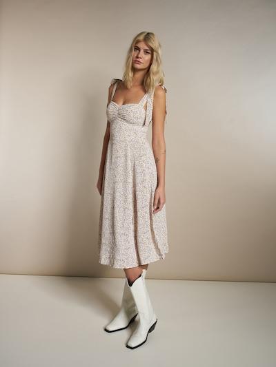 ABOUT YOU x Laura Giurcanu Kleid 'Joana' in dunkelgrün / lila / rosé / weiß, Modelansicht
