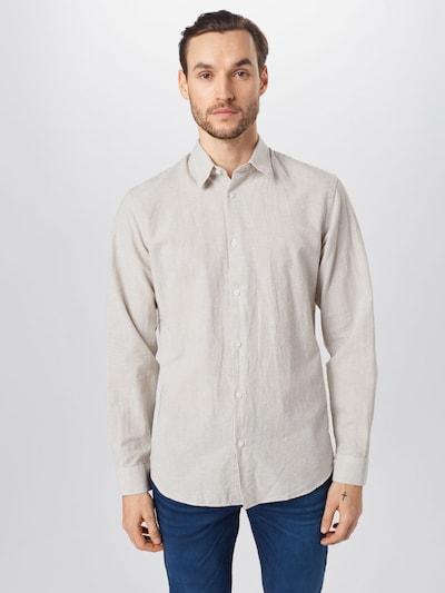 SELECTED HOMME Leinen und Bio-Baumwolle Hemd in ecru: Frontalansicht