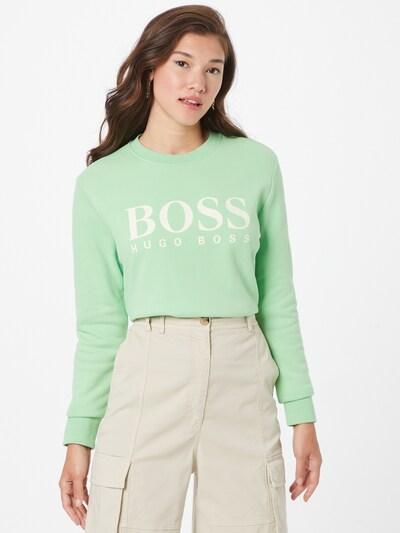 BOSS Casual Суичър в пастелно зелено / бяло: Изглед отпред