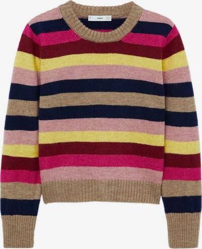 MANGO Pullover 'Rayita' in dunkelblau / hellbraun / gelb / mischfarben / karminrot, Produktansicht