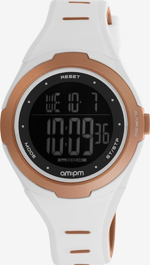 AM:PM Digitaluhr 'Modern electronic smooth sport watch' in rosegold / weiß, Produktansicht