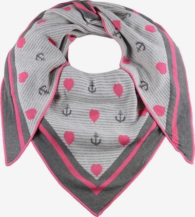 Zwillingsherz Tuch 'Herz' in grau / dunkelgrau / pink, Produktansicht