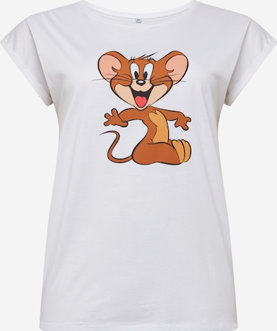 Mister Tee Curvy Shirt 'Tom & Jerry Mouse' in de kleur Wit, Productweergave