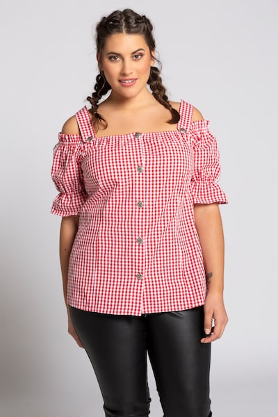 Ulla Popken Klederdracht blouse in de kleur Robijnrood, Modelweergave
