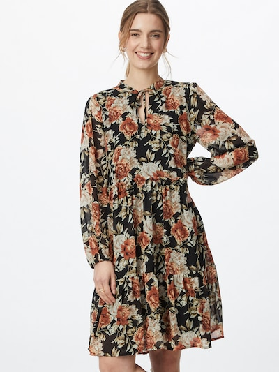 VILA Kleid 'URA' in rostbraun / schwarz / weiß, Modelansicht