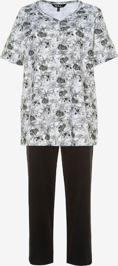 Ulla Popken Pyjama en noir / blanc, Vue avec produit